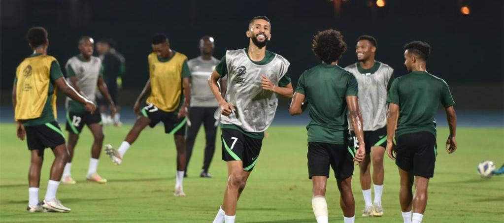 世預賽12強賽:沙特隊進行賽前訓練